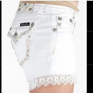 Miss me Bling Rhinestone White Flap pocket Lace